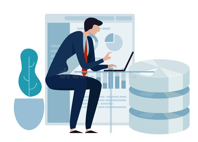 Data science concept of big database technology. Environment friendly green leaf. Business man working on laptop vector illustration