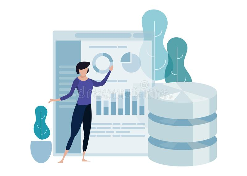 Data science concept of big database technology. Environment friendly green leaf. Woman explain presenting chart. Analytics vector curved illustration stock illustration