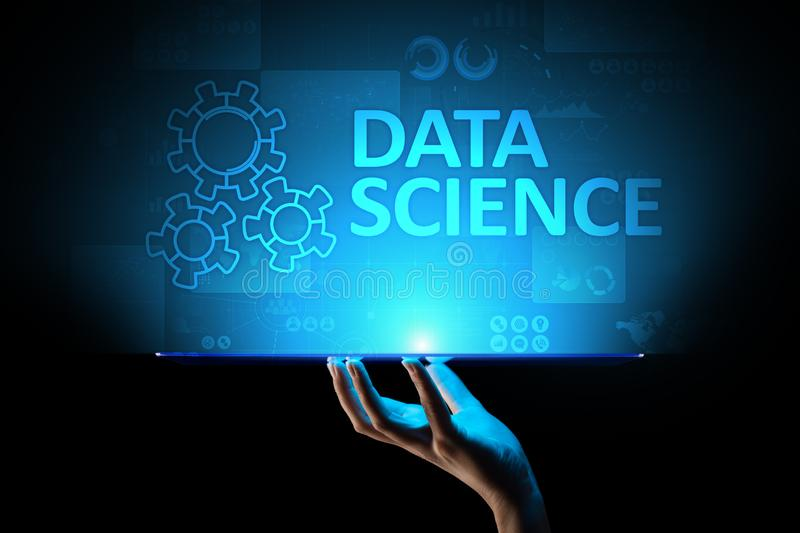 Data science and deep learning. Artificial intelligence, Analysis. Internet and modern technology concept. stock illustration