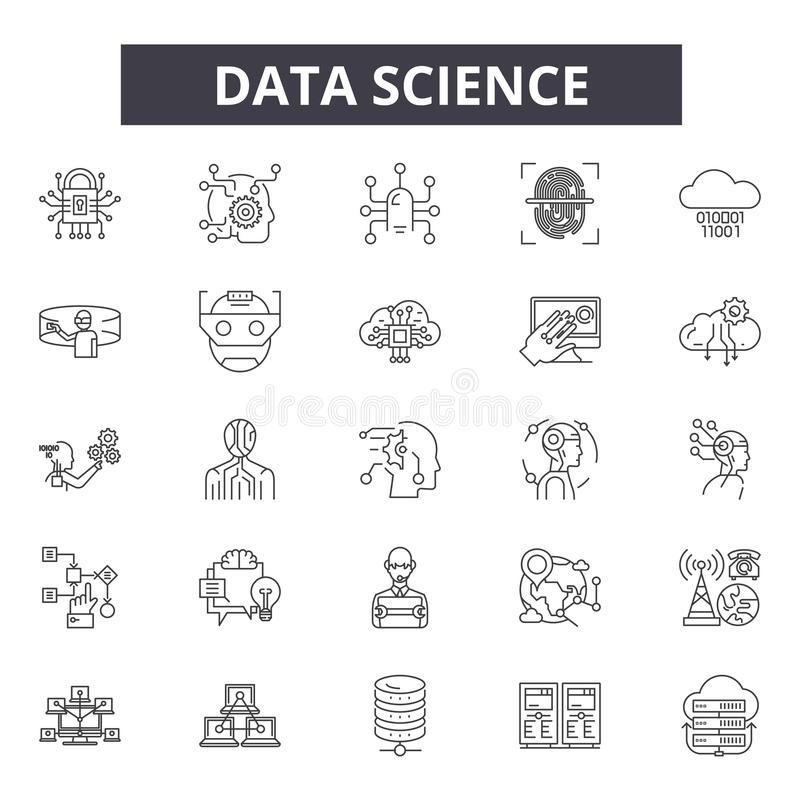 Data science line icons, signs, vector set, outline illustration concept vector illustration