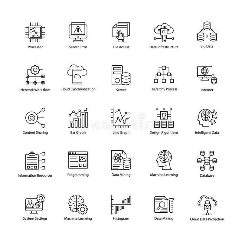 Data Science Line Vectors Set stock illustration