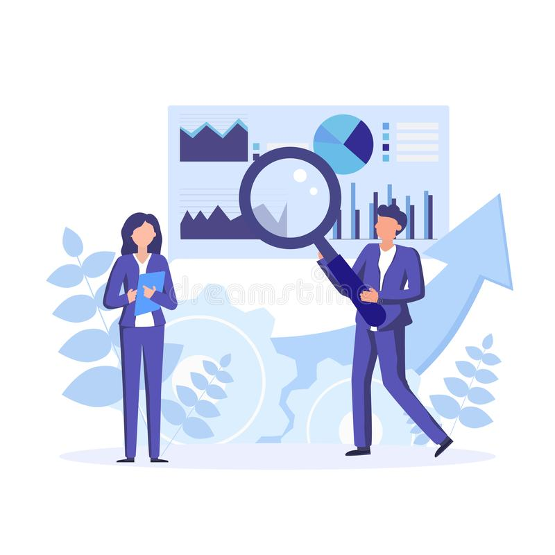 Data science research, analysis in the finance industry. Data scientists, analytical data experts manage the data. Vector concept illustration vector illustration