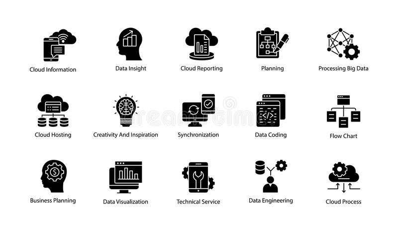 Data Science Solid Vector Icons Set. This Data Science Vector Icon set contains processes and systems to extract knowledge or insights from data in various forms vector illustration