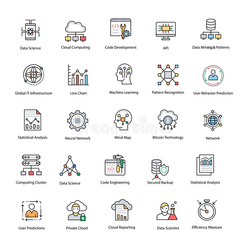 Data Science Flat Vector Icons Set stock illustration