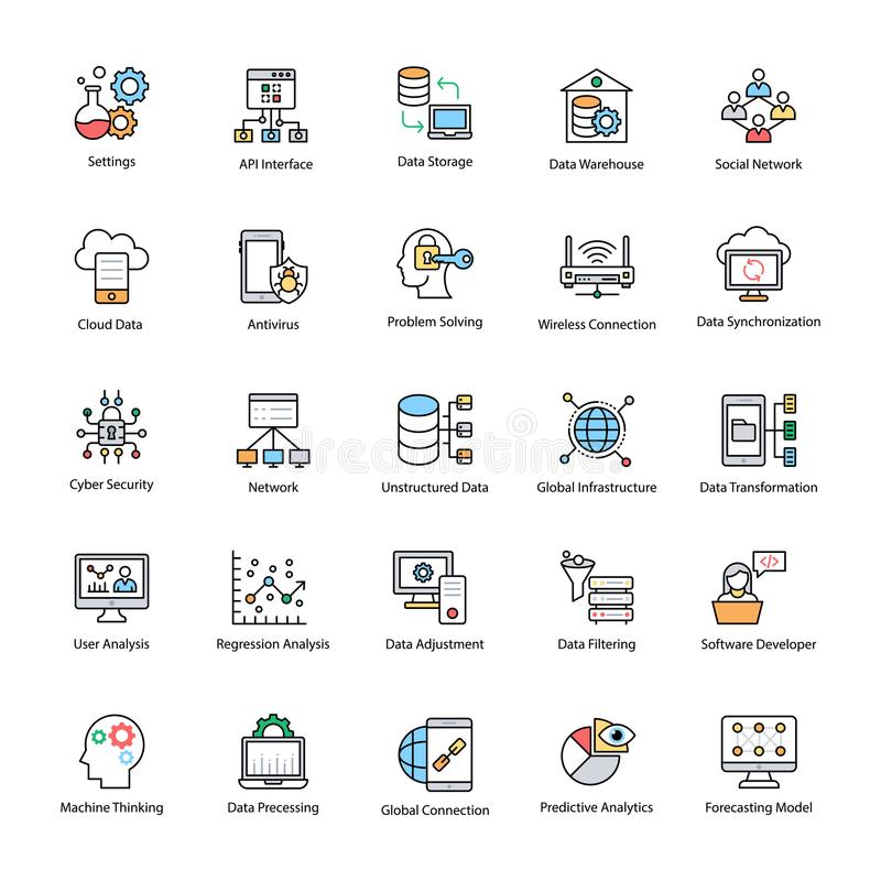 Data Science Flat Vector Icons royalty free illustration