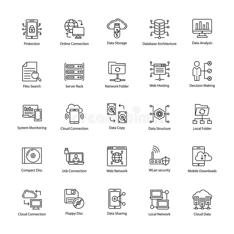Data Science Line Icons vector illustration