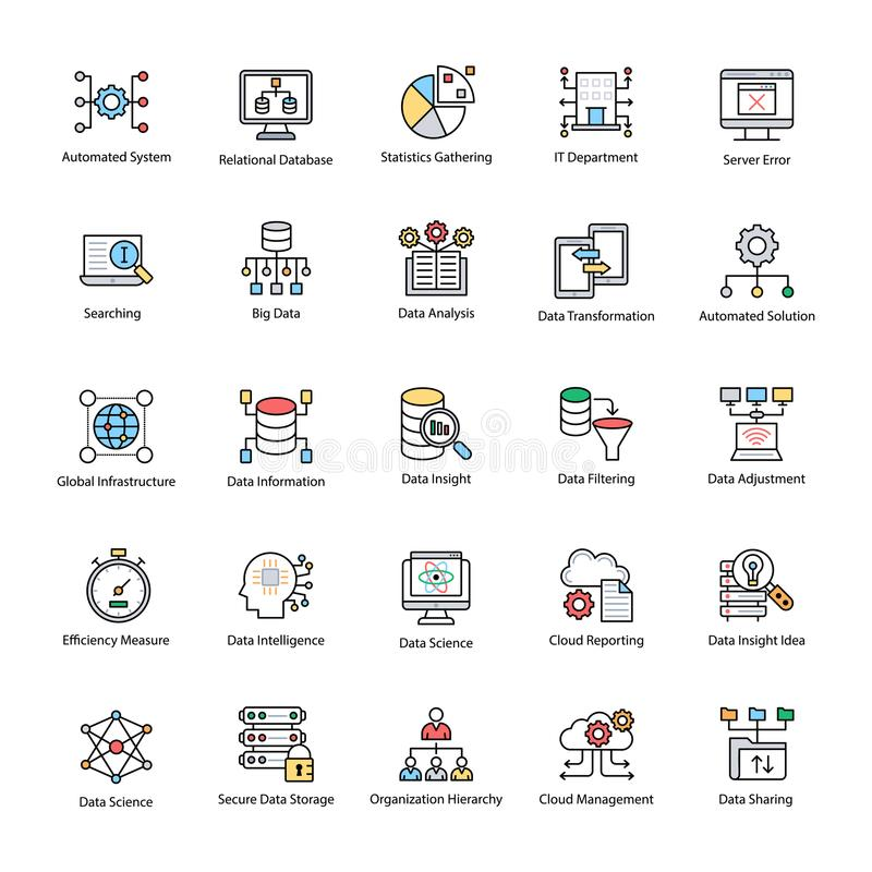 Bundle of Data Science Flat Vector Icons royalty free illustration
