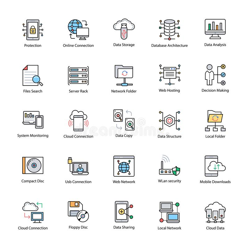 Data Science Flat Icons stock illustration