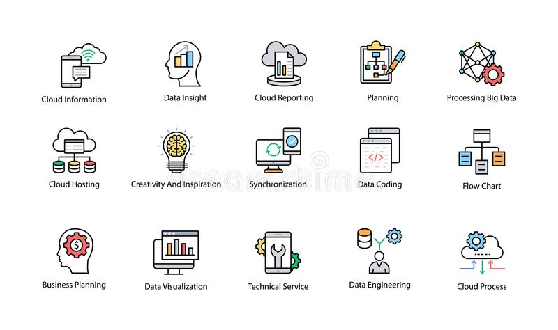 Data Science Colored Vector Icons Set. This Data Science Vector Icon set contains processes and systems to extract knowledge or insights from data in various vector illustration