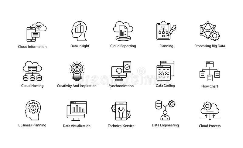 Data Science Vector Icons Set. This Data Science Vector Icon set contains processes and systems to extract knowledge or insights from data in various forms areas vector illustration