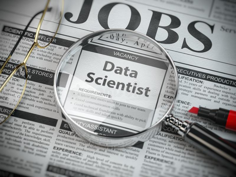 Data scientist vacancy in the ad of job search newspaper with loupe royalty free illustration