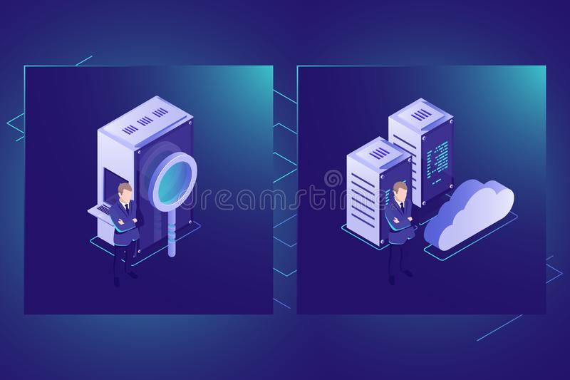 Data search and cloud storage icon isometric vector, server room, datacenter and database. Illustration royalty free illustration