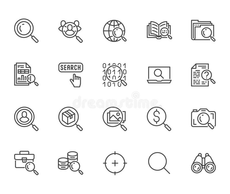 Data search flat line icons set. Magnify glass, find people, image zoom, database exploration, analysis vector stock illustration