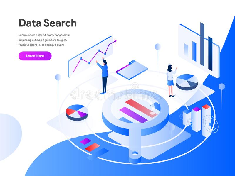 Data Search Isometric Illustration Concept. Modern flat design concept of web page design for website and mobile website.Vector stock illustration
