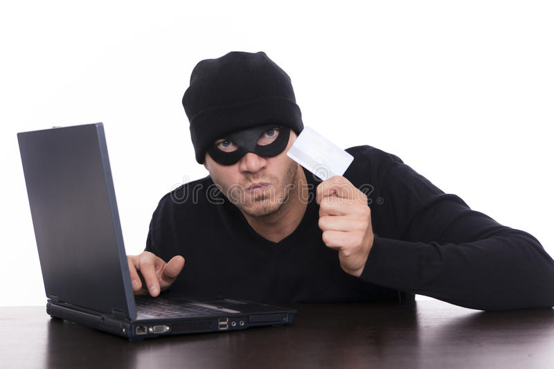 Data security. Hacker stealing your data as concept of business security while online shopping
