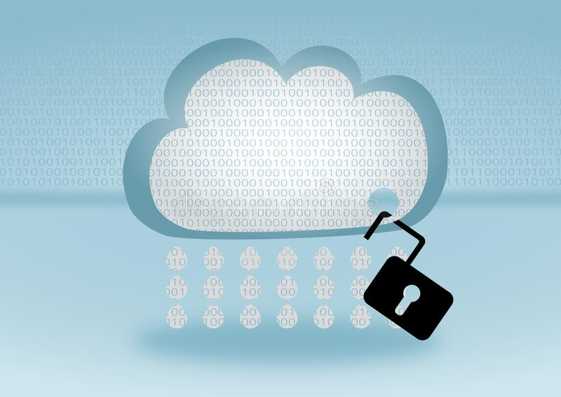 Data security breach in cloud computing. Data security breach in the cloud represented by open lock attached to a cloud on blue background with flat design royalty free illustration