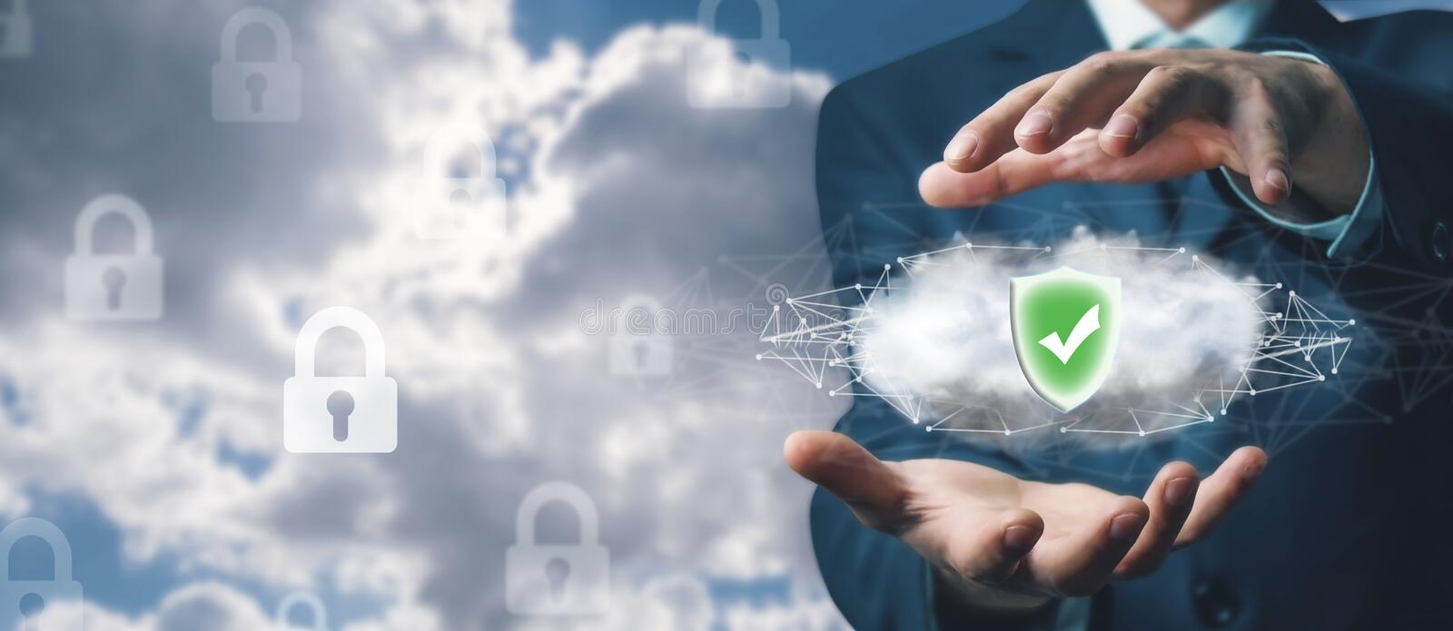 Data security concept. Cloud computing stock images