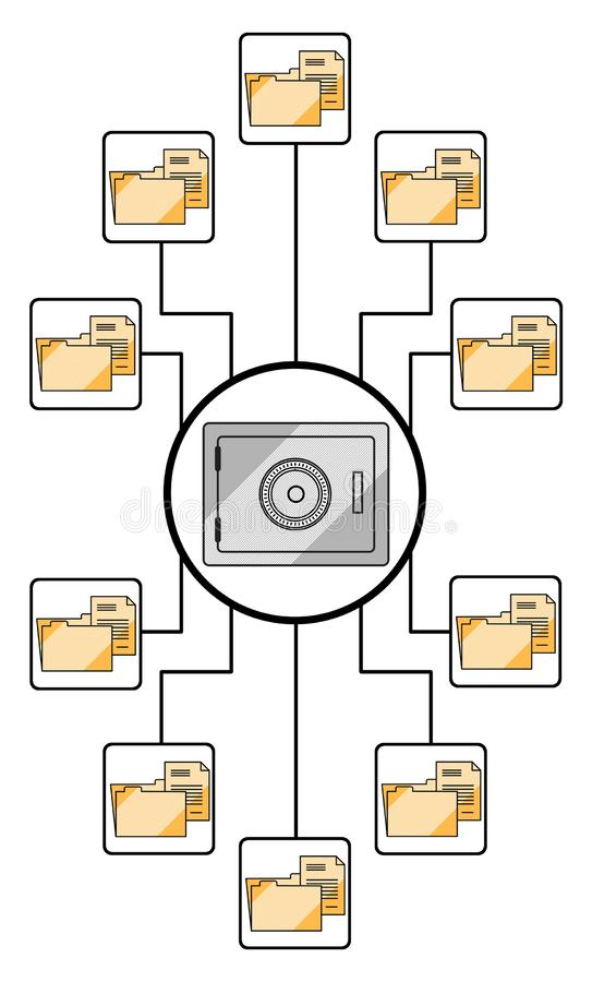 Data security concept on white background. Data security concept drawn on a white background stock image