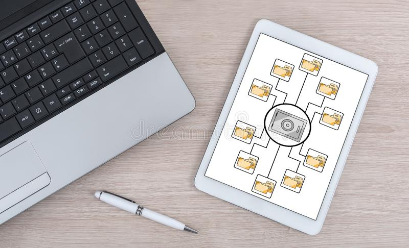Data security concept on a digital tablet. Data security concept shown on a digital tablet royalty free stock photo