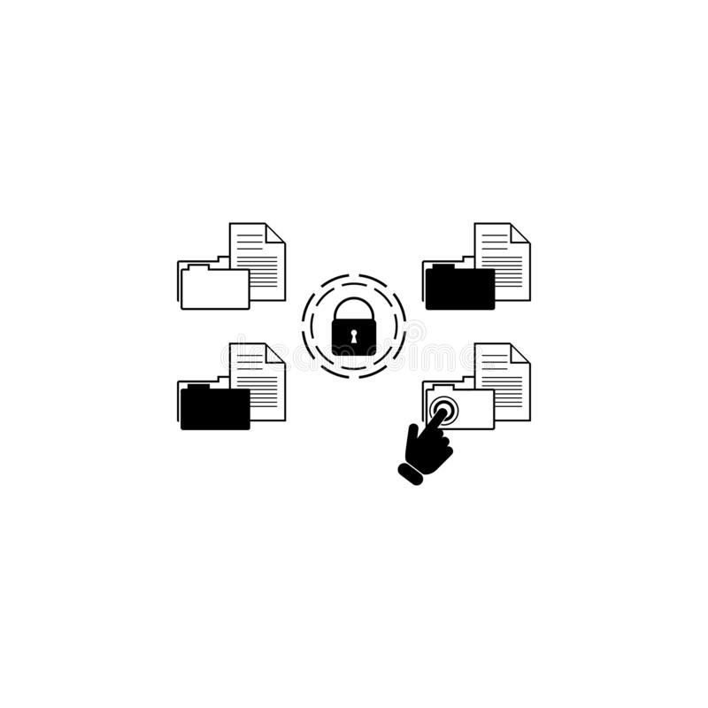 Data security concept on touch screen icon. Element of touch screen technology icon. Premium quality graphic design icon. Signs an. D symbols collection icon for royalty free illustration