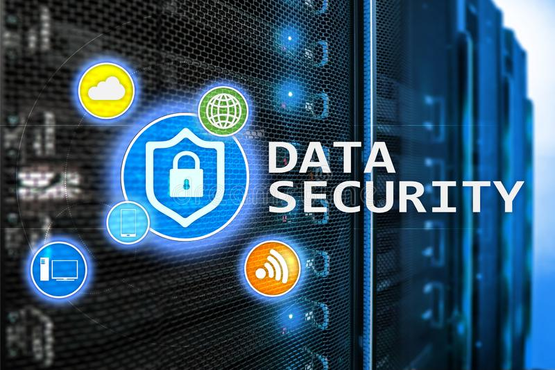 Data security, cyber crime prevention, Digital information protection. Lock icons and server room background.  stock illustration