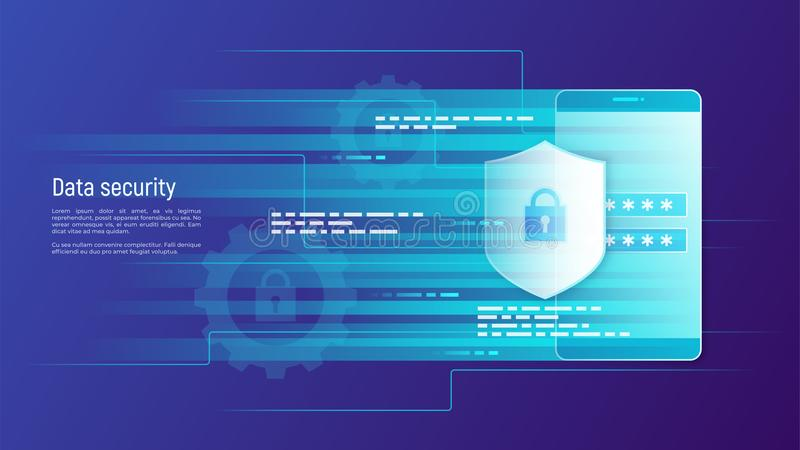 Data security, information protection, access control vector con. Cept. Global swatches stock illustration