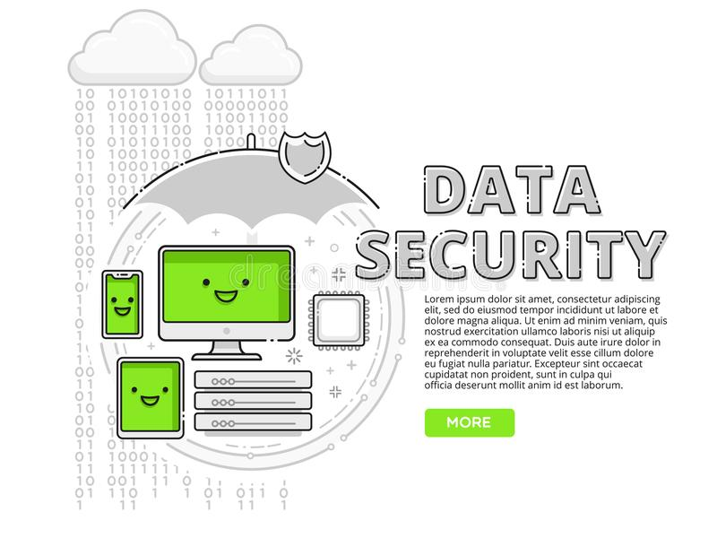 Data security, internet protection for PC, tablet, mobile and desktop stock illustration
