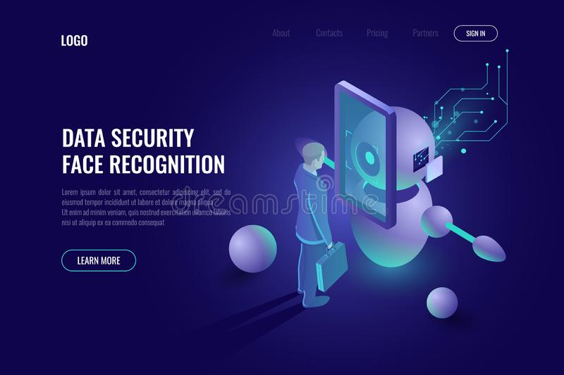Data security, face recognition system, robot scans human, robotics technology, industry 4.0, authentication dark neon vector illustration