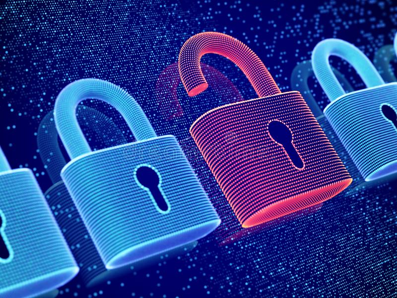 Data security and privacy concept. Visualization of personal or business information safety. royalty free illustration