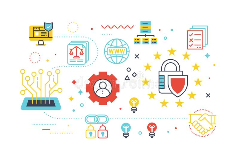 Data security protection concept illustration. With line icons stock illustration