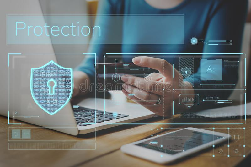 Data Security system Shield Protection Verification royalty free stock images