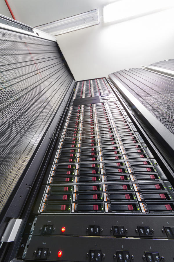Data server and controls in big rack. With multiple hard drives stock photos