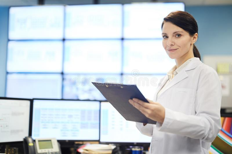 Data server specialist with clipboard royalty free stock photo