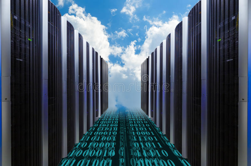 Data servers resting on clouds in blue in a cloudy sky royalty free stock image