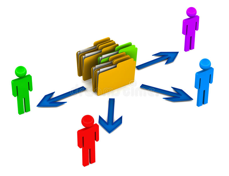 Data share. Data sharing amongst various users, data server concept with people figures on white background