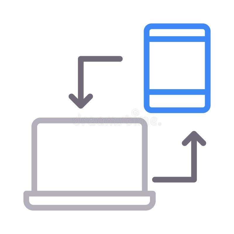 Data sharing colour line vector icon stock illustration