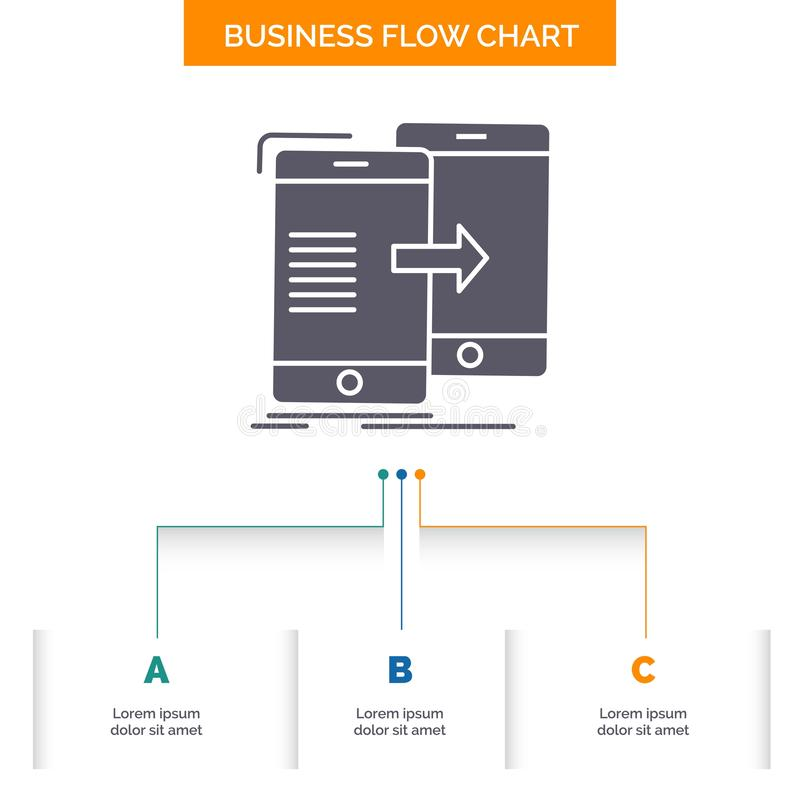Data, Sharing, sync, synchronization, syncing Business Flow Chart Design with 3 Steps. Glyph Icon For Presentation Background. Template Place for text.. Vector royalty free illustration