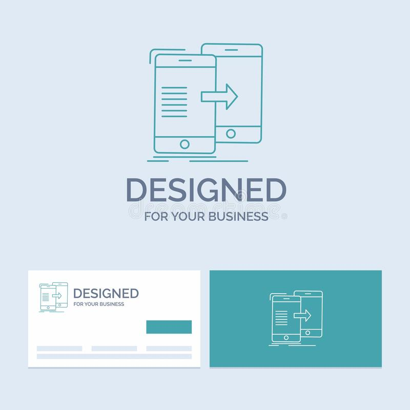 Data, Sharing, sync, synchronization, syncing Business Logo Line Icon Symbol for your business. Turquoise Business Cards with. Brand logo template. Vector EPS10 royalty free illustration