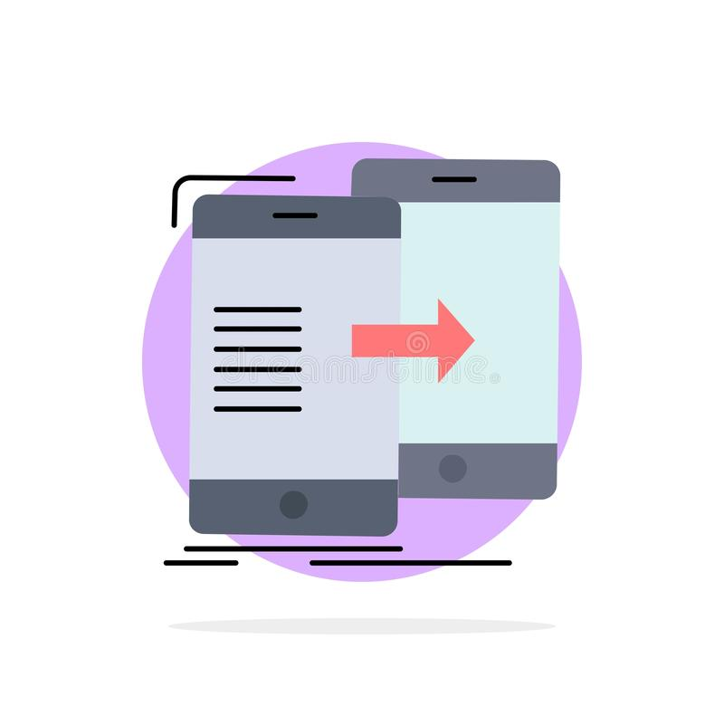 Data, Sharing, sync, synchronization, syncing Flat Color Icon Vector royalty free illustration