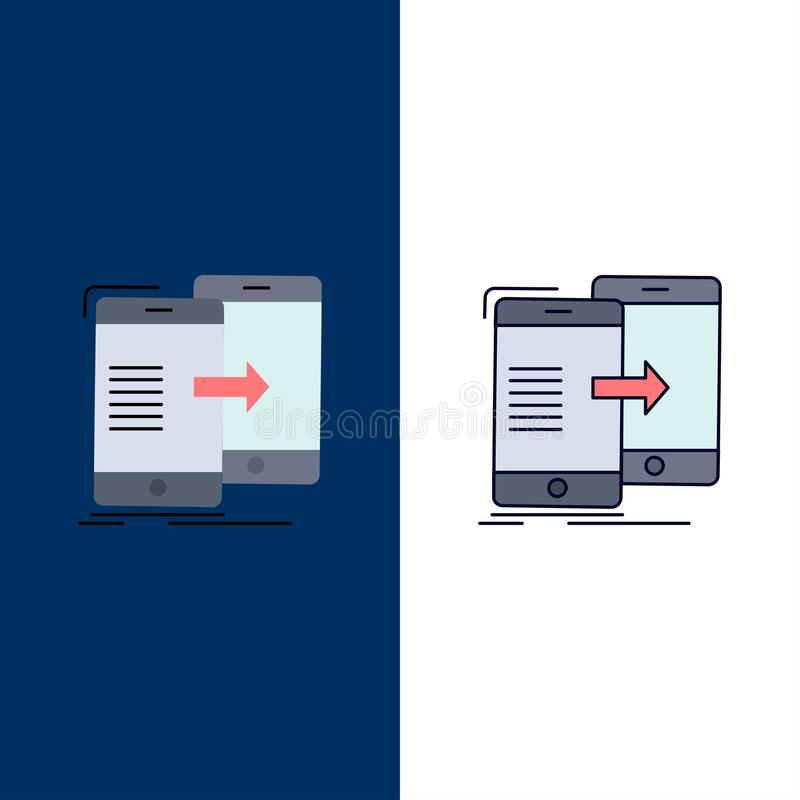 Data, Sharing, sync, synchronization, syncing Flat Color Icon Vector stock illustration