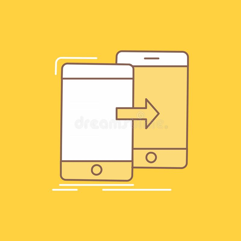 Data, Sharing, sync, synchronization, syncing Flat Line Filled Icon. Beautiful Logo button over yellow background for UI and UX,. Website or mobile application stock illustration