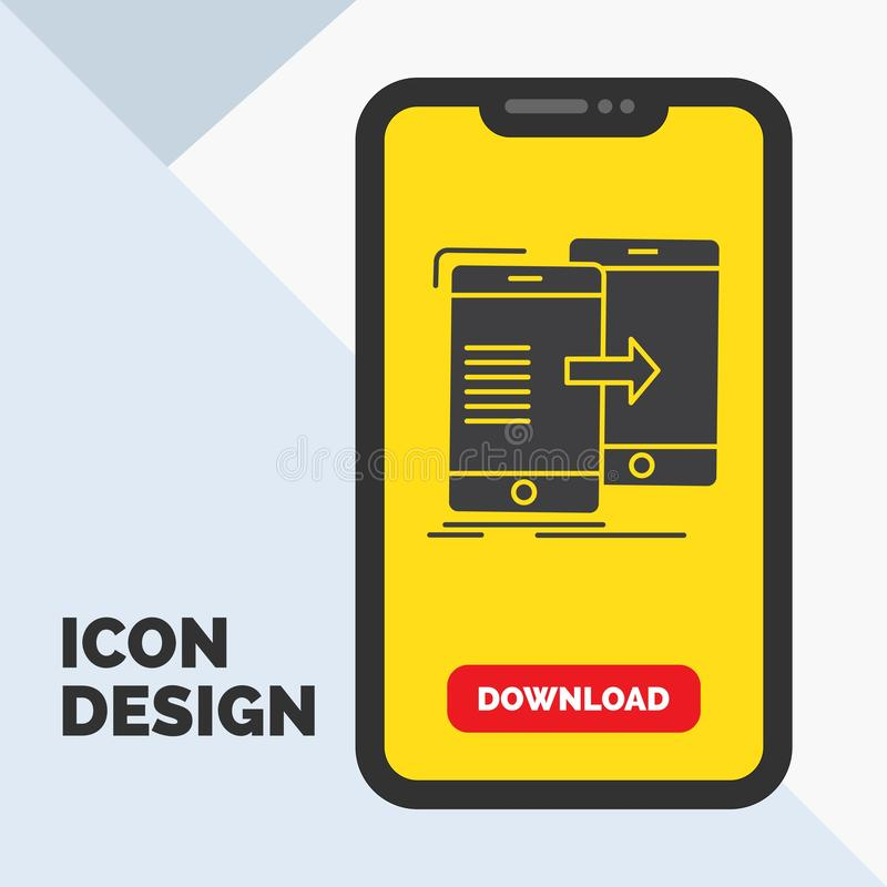 Data, Sharing, sync, synchronization, syncing Glyph Icon in Mobile for Download Page. Yellow Background. Vector EPS10 Abstract Template background vector illustration