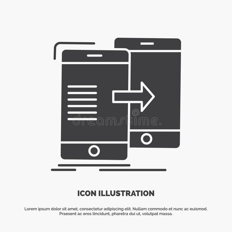 Data, Sharing, sync, synchronization, syncing Icon. glyph vector gray symbol for UI and UX, website or mobile application. Vector EPS10 Abstract Template royalty free illustration