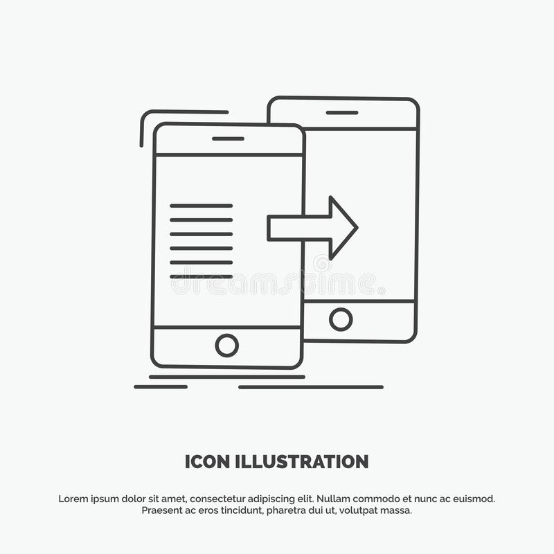 Data, Sharing, sync, synchronization, syncing Icon. Line vector gray symbol for UI and UX, website or mobile application. Vector EPS10 Abstract Template vector illustration