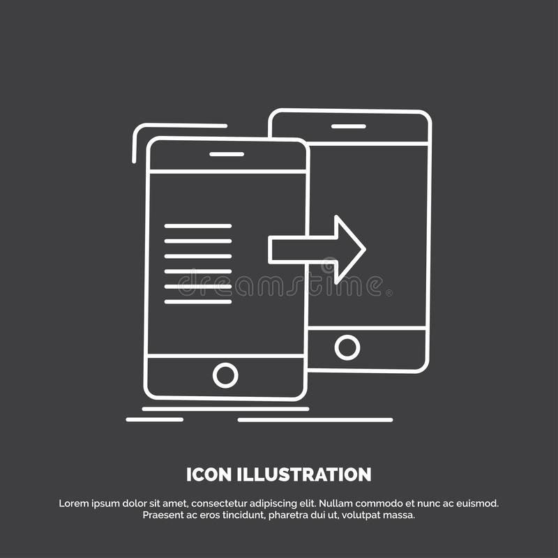 Data, Sharing, sync, synchronization, syncing Icon. Line vector symbol for UI and UX, website or mobile application. Vector EPS10 Abstract Template background royalty free illustration