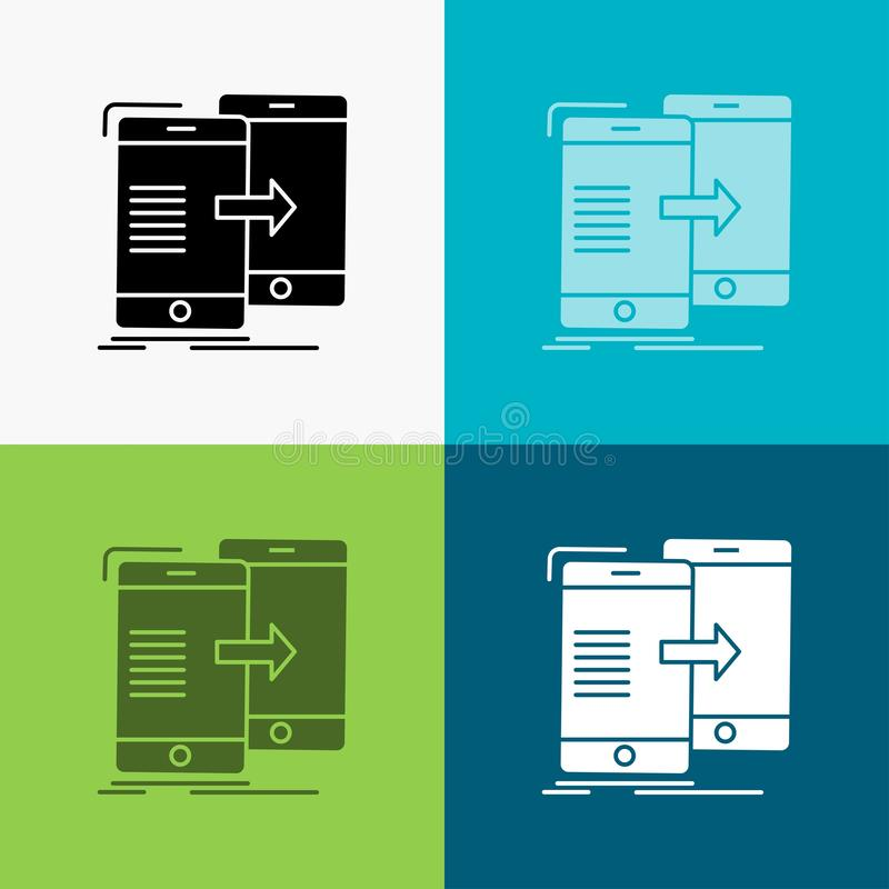 Data, Sharing, sync, synchronization, syncing Icon Over Various Background. glyph style design, designed for web and app. Eps 10. Vector illustration. Vector stock illustration