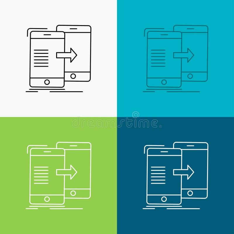 Data, Sharing, sync, synchronization, syncing Icon Over Various Background. Line style design, designed for web and app. Eps 10. Vector illustration. Vector vector illustration