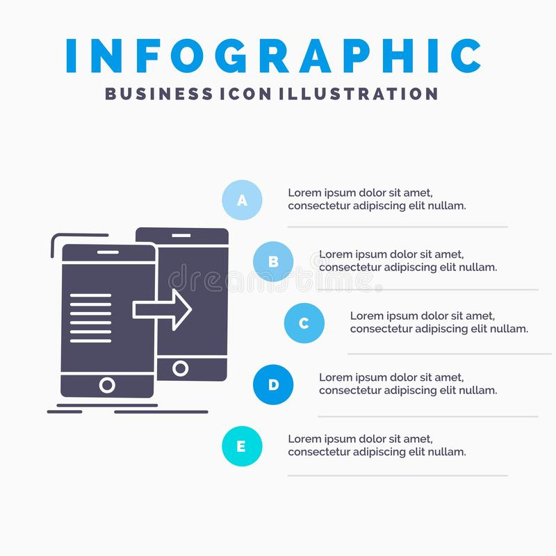 Data, Sharing, sync, synchronization, syncing Infographics Template for Website and Presentation. GLyph Gray icon with Blue. Infographic style vector royalty free illustration