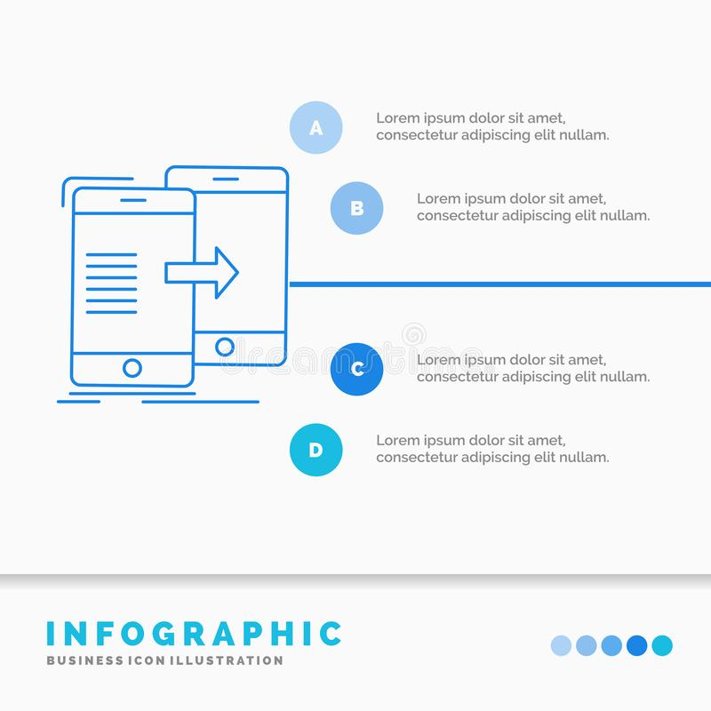 Data, Sharing, sync, synchronization, syncing Infographics Template for Website and Presentation. Line Blue icon infographic style. Vector illustration. Vector royalty free illustration
