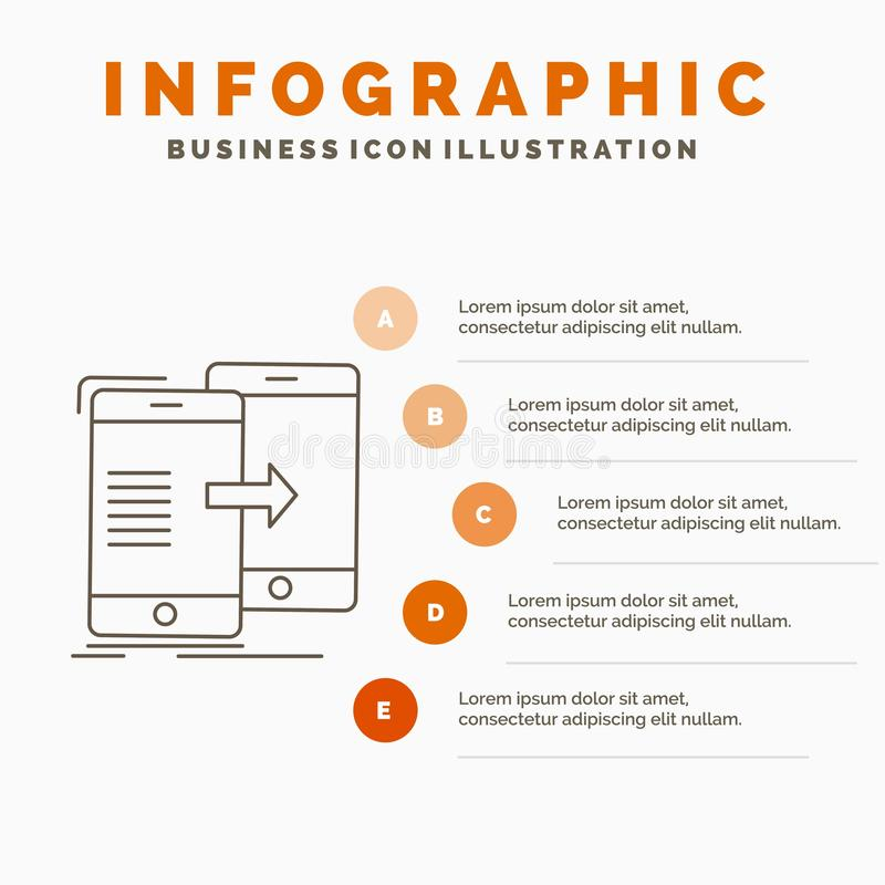 Data, Sharing, sync, synchronization, syncing Infographics Template for Website and Presentation. Line Gray icon with Orange. Infographic style vector stock illustration